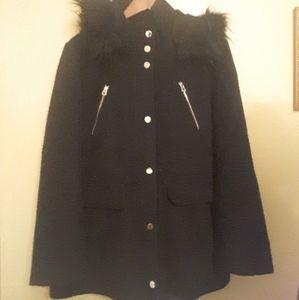 BLACK FUR-HOODED COAT